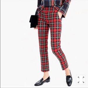 JCrew Cameron pant in red tartan size 00